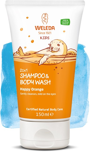 Weleda lasten 2in1 suihkushampoo, Happy Orange