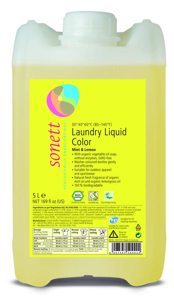 Sonett pyykinpesuaine värillisille tekstiileille, Sitruuna-Minttu 5 L