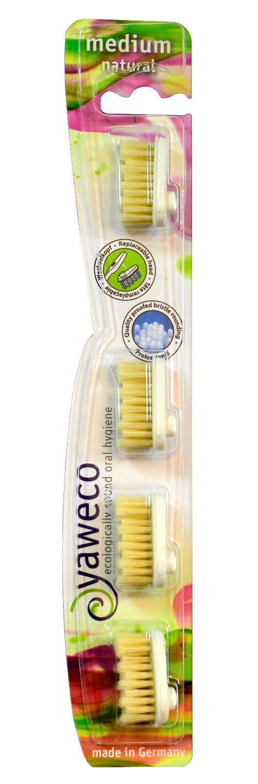 Yaweco hammasharjan vaihtopäät (4 kpl) medium Natural