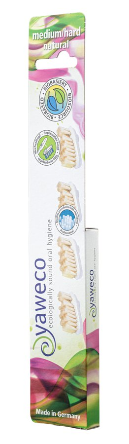 Yaweco hammasharjan vaihtopäät Natural Medium/hard, 4 päätä