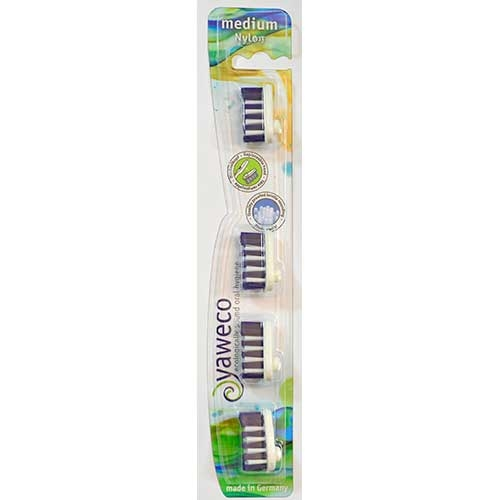Yaweco hammasharjan vaihtopäät (4 kpl) Nylon medium